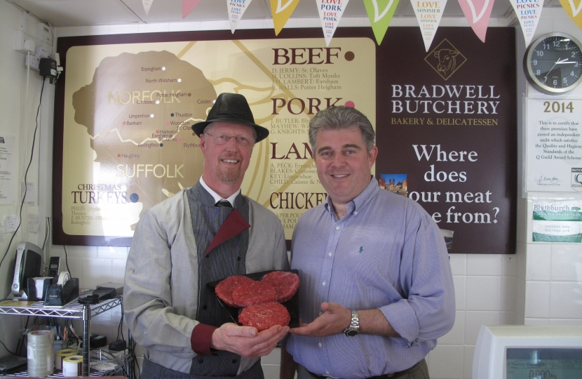 Brandon visiting leading local small business Bradwell Butchers